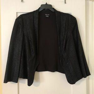 Textured, cropped jacket/shrug w/ hook closure